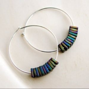 NEW delicate iridescent hoop earrings